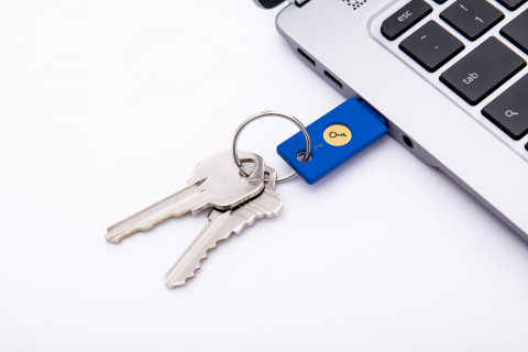 The Security Key by Yubico delivers FIDO2 and FIDO U2F in a single device, supporting existing U2F two-factor authentication (2FA) as well as future FIDO2 passwordless implementations. (Photo: Business Wire)