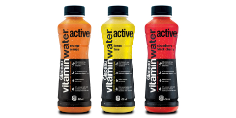 vitaminwater active flavours: Strawberry Black Cherry, Orange Mango, and Lemon Lime (Photo: Business Wire)