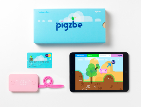 The Pigzbe kit contains the Pigzbe piggy wallet device and Pigzbe payment card that integrate with the Pigzbe game app. (Photo: Business Wire)