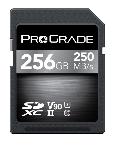 ProGrade Digital announces V90 premium line memory cards—sustained read up to 250MB/second, sustained write up to 200MB/second. ProGrade Digital SDXC UHS-II, U3, Class 10, V90 brings peak performance to DSLR, mirrorless, camcorder and digital cinema that produce incredibly rich data streams and require more from a memory card. (Photo: Business Wire)