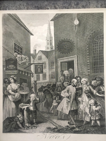 """Noon"" from the Four Times of the Day engravings, published in 1738 according to the Act of Parliament. Inverted, painted and engraved by William Hogarth. 15""x 17 3/4"" plate. (Photo: Business Wire)"