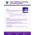 Vicks® PURE Zzzs™ Soothing Aromatherapy Balm Product Fact Sheet (Graphic: Business Wire)