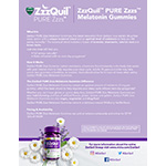 Vicks® ZzzQuil™ PURE Zzzs™ Melatonin Gummies Product Fact Sheet (Graphic: Business Wire)
