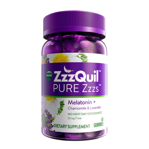 Vicks® ZzzQuil™ PURE Zzzs™ Melatonin Gummies Product Image (Photo: Business Wire)