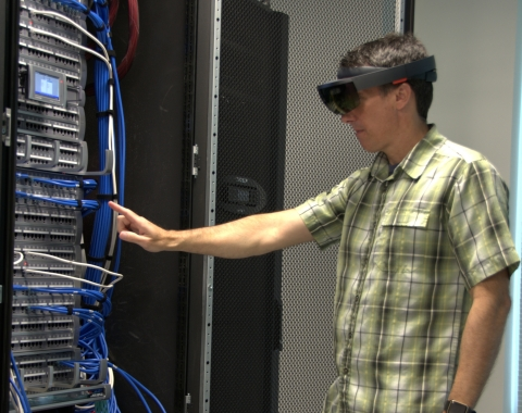 Augmented reality with CommScope's imVision used to locate networking infrastructure. (Photo: Business Wire)
