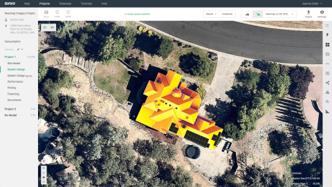 "Nearmap's up-to-date, sub 3"" GSD imagery is now available within Aurora's software, helping solar installers design and sell with exact precision. (Photo: Business Wire)"