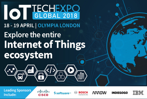 The IoT Tech Expo Global will arrive in Olympia London next week for the flagship event of the IoT Tech Expo World Series. The leading event series will return to London on the 18-19 April alongside the Blockchain Expo and AI Expo. With over 18,000 attendees pre-registered, it's set to be the IoT event to attend in 2018. (Graphic: Business Wire)