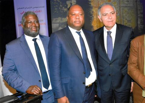 Claude Wilfrid Etoka en compagnie du Président de la COP22, M. Salahedinne Mezouar. (Photo: Business Wire)