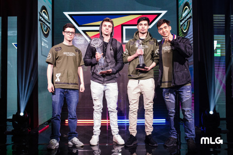 "FaZe Clan: Preston ""Priestahh"" Greiner, James ""Replays"" Crowder, MVP winner Tommy ""ZooMaa"" Paparratto, and Dillon ""Attach"" Price. (Photo: Business Wire)"