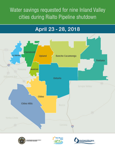 Water savings requested for nine Inland Valley cities during Rialto Pipeline shutdown. (Graphic: Business Wire)