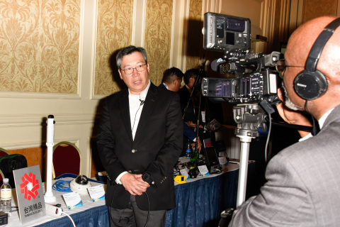 David Huang, President of GeoVision, takes a media interview at the Taiwan New Products Launch @ ISCWest (Photo: Business Wire)