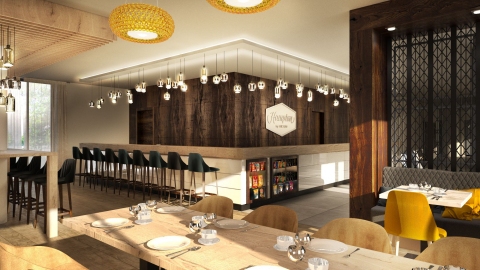 A rendering of the bar and dining area of the new Hampton by Hilton Dortmund Phoenix See in Germany (Photo: Business Wire)