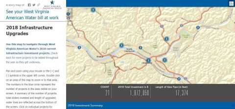West Virginia American Water's 2018 Infrastructure Upgrade Map (Graphic: Business Wire)