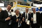 (From left to right) Axis Communications' Fredrik Nilsson, Martin Gren, James Marcella and Andres Vigren accepted SIA New Product Showcase awards at ISC West. (Photo: Business Wire)