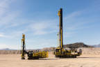Komatsu's 44XT (left) and 77XR drills pictured at the company's Arizona Proving Grounds. (Photo: Business Wire)