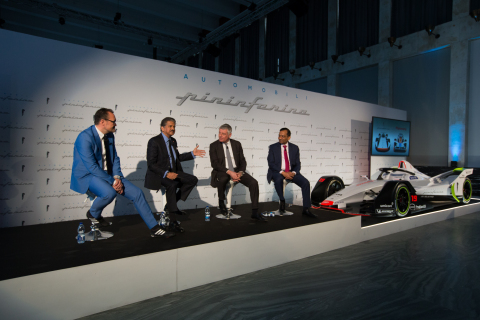 From L to R: Michael Perschke, CEO, Automobili Pininfarina, Anand Mahindra, Chairman, Mahindra Group, Paolo Pininfarina, Chairman, Pininfarina SpA. and Dr. Pawan Goenka, MD, M&M Ltd. and Chairman, Mahindra Racing at the launch of Automobili Pininfarina, the World's Newest Sustainable Luxury Car Brand. Also seen in the picture is Mahindra Racing's Gen 2 Formula E race car featuring Automobili Pininfarina livery. (Photo: Business Wire)