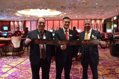 Resorts World Catskills Executives Jack Kennedy, Kevin Kline and Charles Degliomini open exclusive Palace High Limit Gaming (Photo: Business Wire)