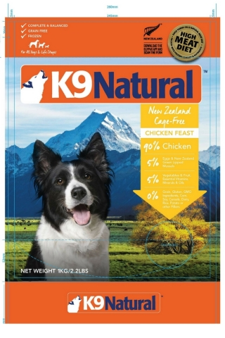 Packaging: K9 Natural Frozen Chicken Feast 2.2lb Front (Photo: Business Wire)