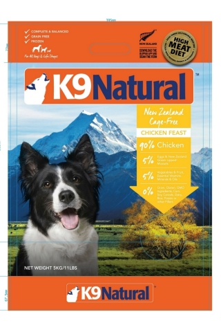 Packaging example: K9 Natural Frozen Chicken Feast 11lb Front (Photo: Business Wire)