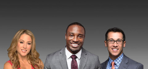 Your Call Football's lineup of on-air talent includes (from left to right): Sideline Reporter Jennifer Hale, Analyst Jabari Greer and Play-by-Play Broadcaster Justin Kutcher. (Photo: Business Wire).