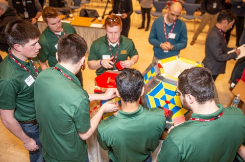 North Dakota State University took home first place in 3M's Disruptive Design Challenge with their emergency relief container design using 3M Industrial Adhesives and Tapes. (Photo: Business Wire)