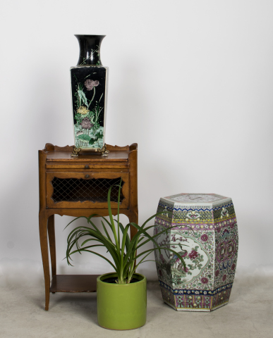 French nightstand, Chinese famille rose garden seat and Chinese square-form footed vase from the Estate of Joan Rivers (Photo: Business Wire)