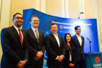 Taiwan Products Launch @ ISC West 2018. Speakers from left to right: EverFocus Regional Technical Sales Manager Marques Phillips, TAITRA Executive Director Simon Lai, GeoVision President David Huang, PLANET Sales Manager Tammy Huang and VIVOTEK Director of Marketing and Product Development Shengfu Cheng. (Photo: Business Wire)