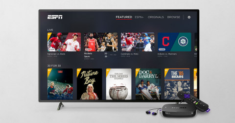 ESPN+ on Roku streaming devices (Graphic: Business Wire)