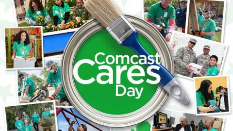 More than 3,000 Comcast employees, family and friends will contribute to volunteer projects across Washington state on April 21, 2018. #ComcastCaresDay (Graphic: Business Wire)