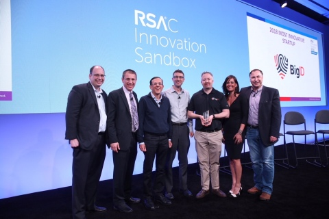 Dimitri Sirota CEO of BigID with RSAC Innovation Sandbox Contest moderator Dr. Hugh Thompson and judges panel: Gerhard Eschelbeck, Asheem Chandna, Paul Kocher, Niloofar Razi Howe and Patrick Heim (Photo: Business Wire)