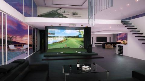 """在美国的居住空间安装的 GOLFZON的高级模拟高尔夫系统电脑图形图像. GOLFZON称:在美国高尔夫专业杂志高尔夫文摘""""Editor's Choice""""的系统/装备部门紧接着2017年连续两年被选为""""最佳高尔夫模拟器""""。(照片:美国商业资讯)"""