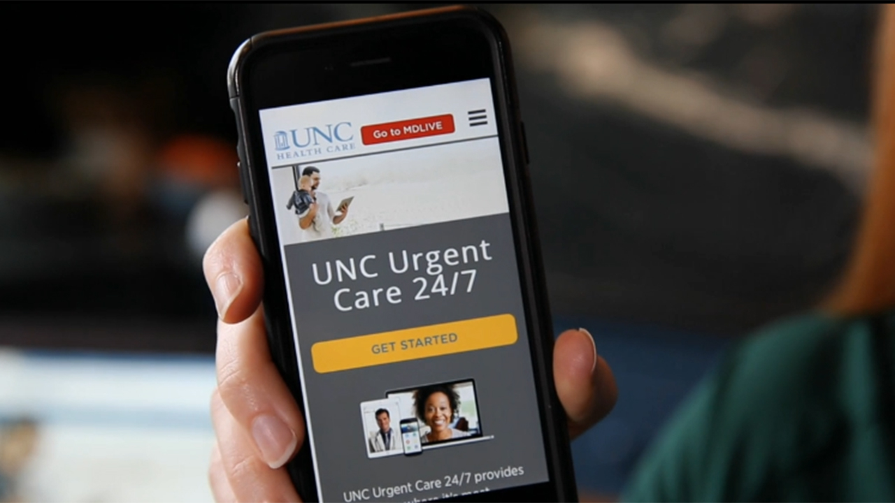 UNC Urgent Care 24/7 provides easier access to physicians via phone, tablet or computer anywhere in NC for non-emergency medical issues. This video explains how the service from UNC Health Care works.