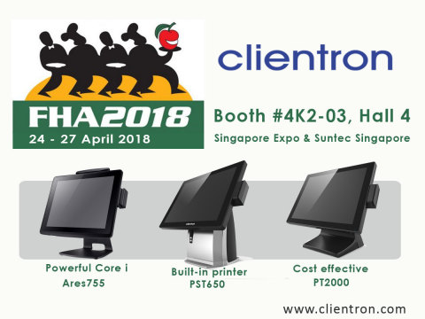 Clientron to introduce its latest POS terminals at FHA 2018 (Graphic: Business Wire)