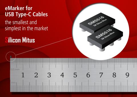 家电源管理集成电路( PMIC )高级设计及制造专门企业的(株)Silicon Mitus推出了专用于USB C型线缆的 SM5516 eMarker IC,该产品在当前市场上的产品中尺寸最小,封装尺寸仅为1.1 mm x 1.5 mm。SM5516自带MTP存储器为供应商信息数据更改带来灵活性,从2.7V至5.5V具有宽泛的VDD操作范围。(图示:美国商业资讯)