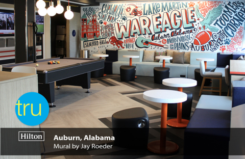 The new Tru by Hilton Auburn in Alabama features a mural by Jay Roeder. (Photo: Business Wire)