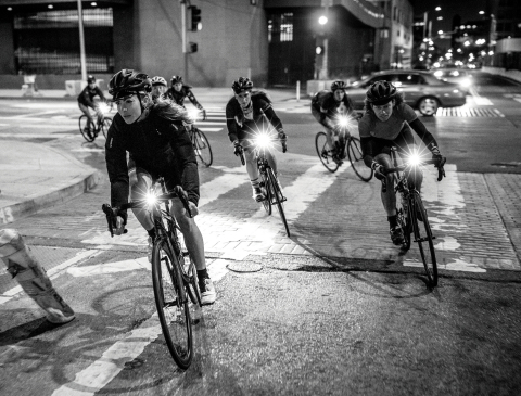 Liv riders and friends on an urban night ride, photo released today as part of the How We Liv global brand campaign. Photo courtesy of Liv.