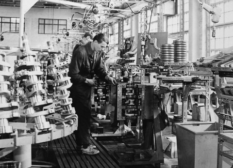 Engine assembly line in the 1960s (Photo: Business Wire)