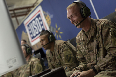 Troops playing Call of Duty: WWll. USO Photo by Joe Lee