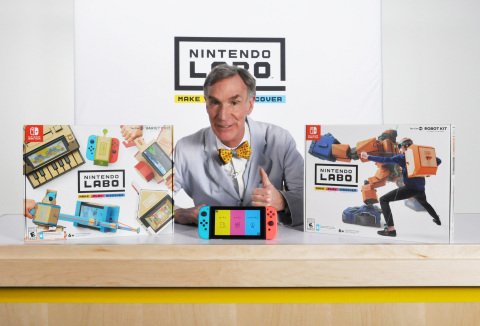 """TV personality and """"Science Guy"""" Bill Nye recently took Nintendo Labo for a spin and spent time tinkering with Toy-Con Garage. (Photo: Business Wire)"""