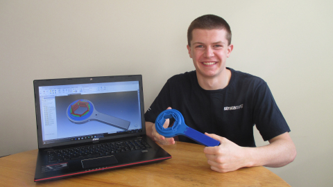 "Thomas Salverson of the University of Alabama in Huntsville took first place in the ""Engineering – Post Secondary Education"" category of the 2018 Stratasys Extreme Redesign 3D Printing Challenge (Photo: Business Wire)"