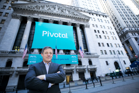 Pivotal Software (NYSE: PVTL) CEO Rob Mee poses in front of the NYSE on the company's IPO day. (Photo: NYSE)