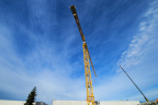 The Liebherr 630 construction crane that towers over Intel's water recycling project in Hillsboro, Oregon, is visible for miles. Darren Starks climbs the 150-foot metal ladder once a day – up in the morning, down in the afternoon. (Credit: Walden Kirsch/Intel Corporation)