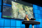 Esri's Natalie Feuerstein, Defense and Intelligence Lead, showcases the Intelligence Configuration for ArcGIS Pro (ICAP). (Photo: Business Wire)