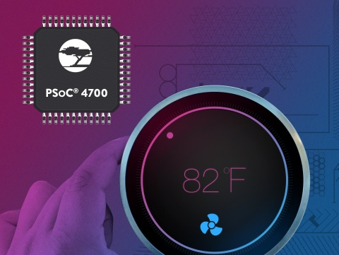 Pictured is Cypress' PSoC 4700 series of microcontrollers that uses inductive sensing to detect touch inputs for products using metal surfaces, enabling designers to create more sleek and durable user interfaces. (Graphic: Business Wire)
