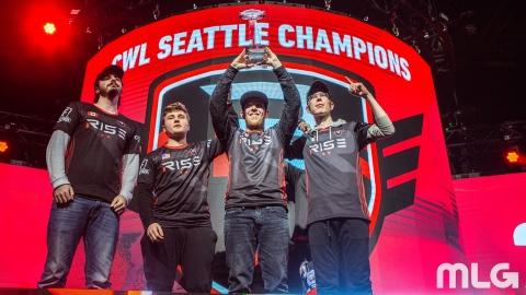 "Rise Nation: CWL Seattle MVP Pierce ""Gunless"" Hillman, Tommy ""TJHaLy"" Haly, Austin ""Slasher"" Liddico ..."