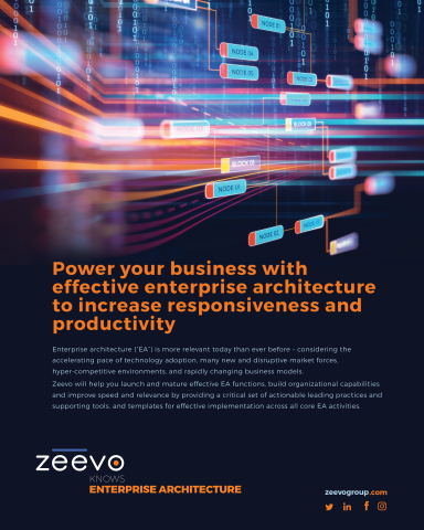 Zeevo will help you launch and mature effective EA functions, build organizational capabilities and improve speed and relevance by providing a critical set of actionable leading practices and supporting tools, and templates for effective implementation across all core EA activities. (Photo: Business Wire)