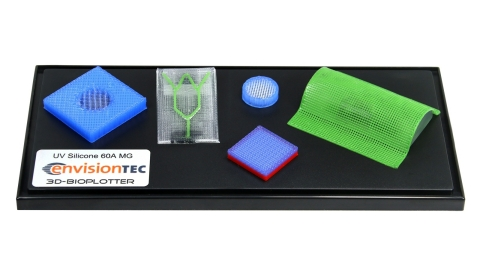 EnvisionTEC today launches two new medical-grade materials that make 3D printing parts for implantation in humans safe and easy on its bioprinters. UV Silicone 60A MG, shown here, is a ready-to-print liquid silicone appropriate for microfluidics, wound dressings and more. EnvisionTEC also launched a biodegradable PCL polyester for use with its 3D-Bioplotter printers. (Graphic: Business Wire)