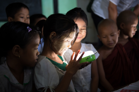 Elementary school students in Myanmar are delighted with bright light of Panasonic's Solar Lanterns (Photo: Business Wire)