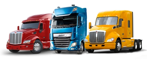 Peterbilt Model 579, DAF XF and Kenworth T680 Trucks (Photo: Business Wire)