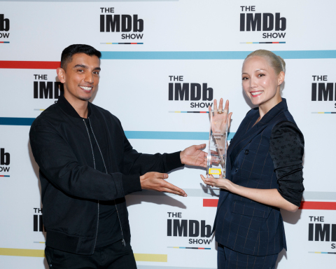 "Tim Kash, co-host of ""The IMDb Show,"" presented Pom Klementieff with the IMDb Fan Favorite STARmeter Award in the Breakout Category on April 23, 2018 on the set of ""The IMDb Show"" in Studio City, CA"